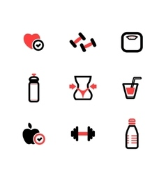 Set of black and red fitness icons vector