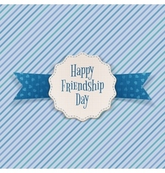 Friendship day emblem with greeting text vector