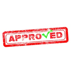 Approved red rubber stamp with green check vector
