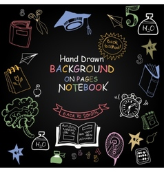 Back to school funny pictures chalk on a vector