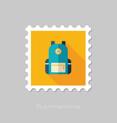Backpack stamp travel summer vacation vector
