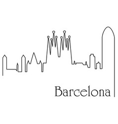Barcelona city one line drawing background vector