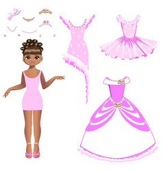 beautiful princess with a collection of dresses vector image vector image