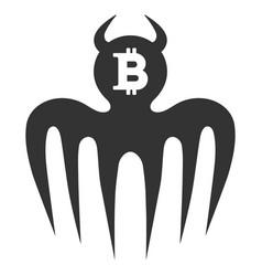 Bitcoin spectre devil flat icon vector