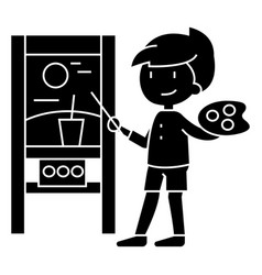 boy drawing picture icon vector image