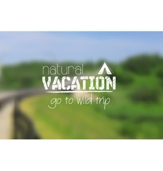 Camping logo emblem on summer blurred landscape vector