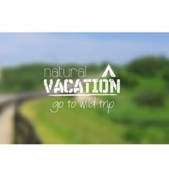 Camping logo emblem on summer blurred landscape vector image