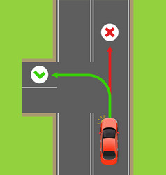 Car left turn rule flat diagram vector