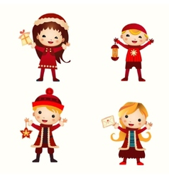 Christmas kids collection isolated on white vector