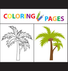 Coloring book page palm sketch outline and color vector