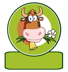 Cow with flowers and bell vector image