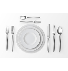 Cutlery set of silver forks spoons knifes plates vector