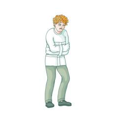 Flat man in psychiatric hospital uniform vector