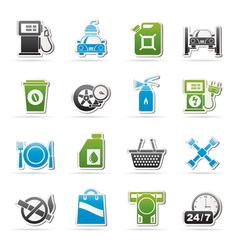 Gas Station Services Icons vector image vector image