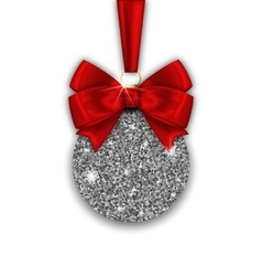 Glitter Christmas Ball and Red Bow Ribbon with vector image