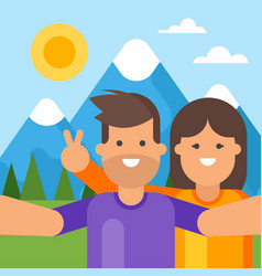 happy tourist couple taking selfie vector image vector image