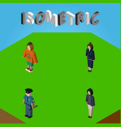 Isometric human set of girl officer lady and vector
