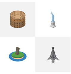 Isometric travel set of new york chile paris and vector