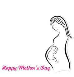 Mothers day card with pregnant woman and fetus vector