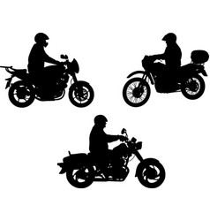 motorcyclists silhouette vector image