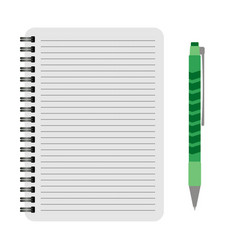 Notebook with a green pen vector