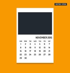 November 2015 calendar vector image vector image