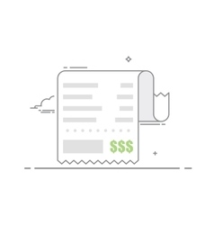 Receipt with the shopping list and the value of vector image