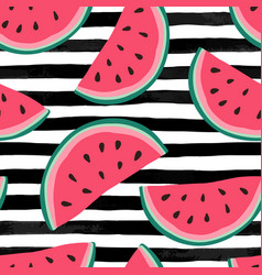 Seamless background with watermelon slices on vector