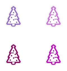 Set of paper stickers on white background cristmas vector