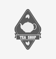 tea shop badge label or logo design template with vector image
