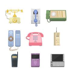 Telephones vintage icons vector