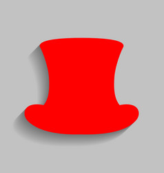 Top hat sign red icon with soft shadow on vector