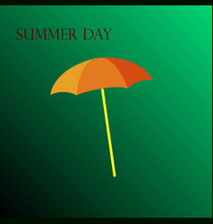 yellow umbrella on a green background vector image vector image