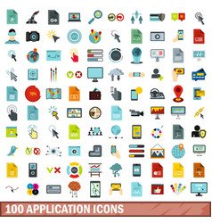 100 application icons set flat style vector