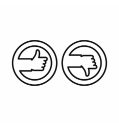Thumbs up and down buttons icon outline style vector