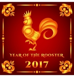 Golden rooster on red vector