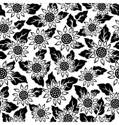 Sunflower flower black isolated seamless vector
