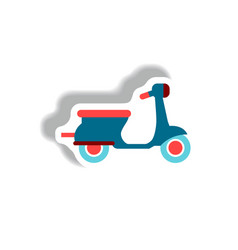 stylish icon in paper sticker style retro scooter vector image