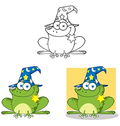 Wizard Frog With A Magic Wand Collection vector image