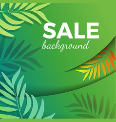 Sale background with green leaves in realistic vector