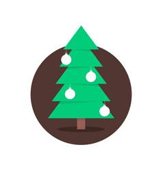 Christmas tree in circle with xmas balls vector