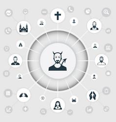 Set of simple faith icons vector
