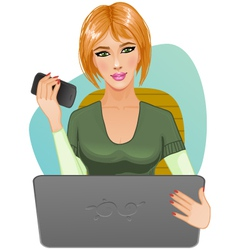 Young woman at laptop with mobile vector