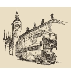 Street london england bus big ben vintage sketch vector