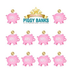 Piggy bank icons vector