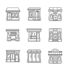 Store and shops line icons set vector