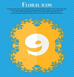 number Nine icon sign Floral flat design on a blue vector image