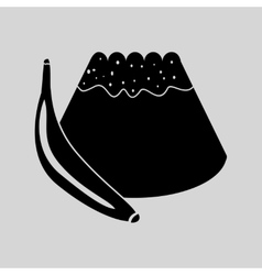 Flat in black and white bun with banana vector