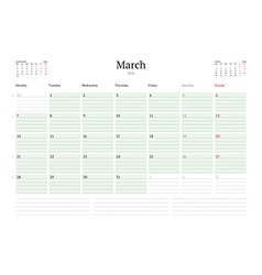 Monthly calendar planner 2016 print template march vector