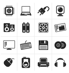 Black computer items and accessories icons vector